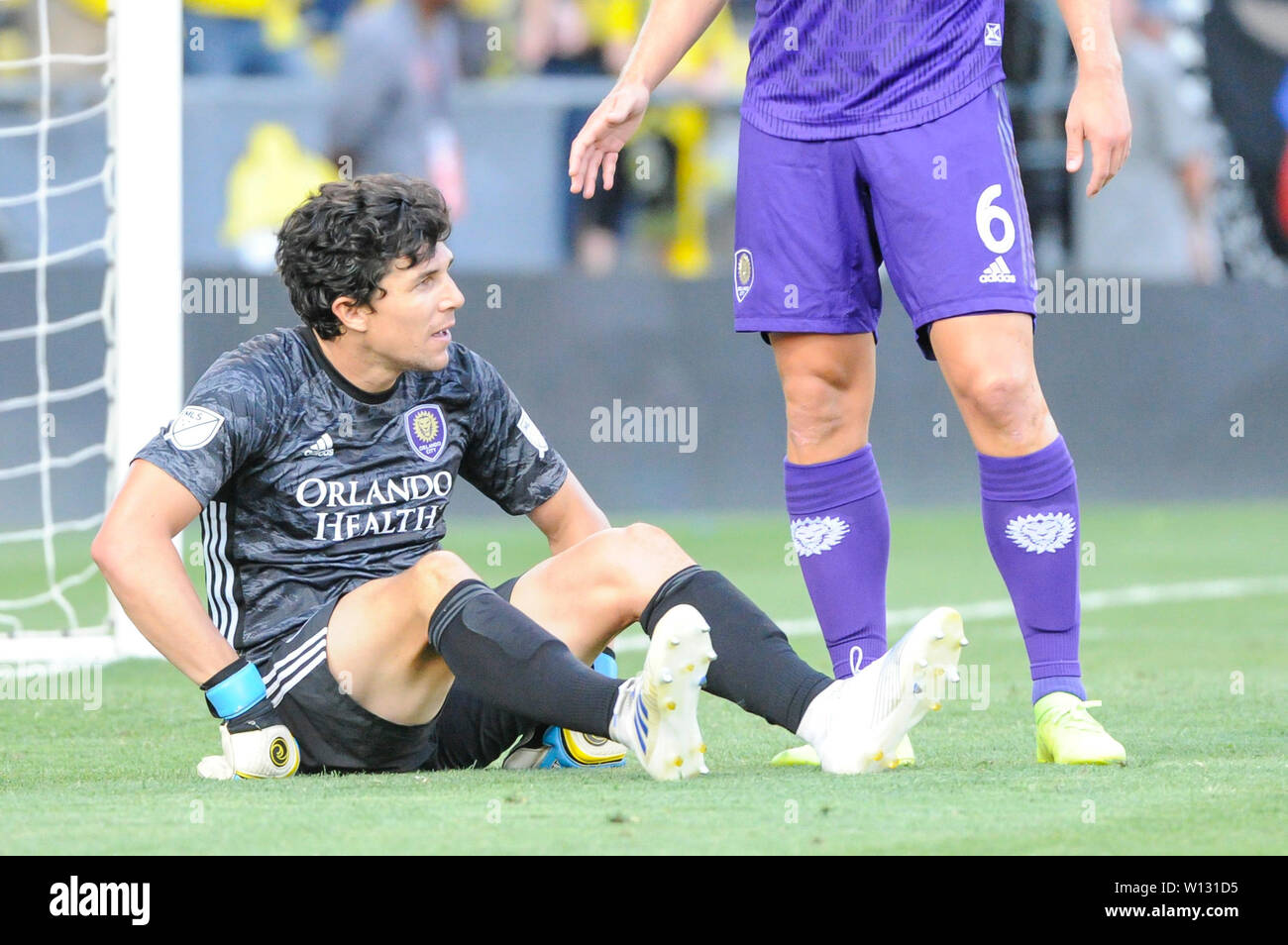 Saturday, June 29, 2019: Orlando City goalkeeper Brian Rowe (23) the first half of the match between Orlando City and Columbus Crew SC at MAPFRE Stadium, in Columbus OH. Mandatory Photo Credit: Dorn Byg/Cal Sport Media. Orlando City 1 - Columbus Crew SC 0 after the first half - Stock Image