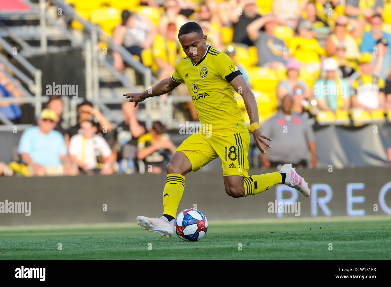 Saturday, June 29, 2019: Columbus Crew SC forward Robinho (18) in the first half of the match between Orlando City and Columbus Crew SC at MAPFRE Stadium, in Columbus OH. Mandatory Photo Credit: Dorn Byg/Cal Sport Media. Orlando City 1 - Columbus Crew SC 0 after the first half - Stock Image