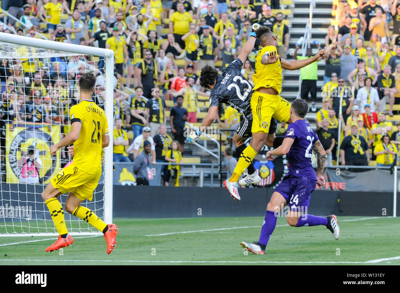 Saturday, June 29, 2019: Orlando City goalkeeper Brian Rowe (23) and Columbus Crew SC forward JJ Williams (33) collide while jumping for the ball the first half of the match between Orlando City and Columbus Crew SC at MAPFRE Stadium, in Columbus OH. Mandatory Photo Credit: Dorn Byg/Cal Sport Media. Orlando City 1 - Columbus Crew SC 0 after the first half Stock Photo