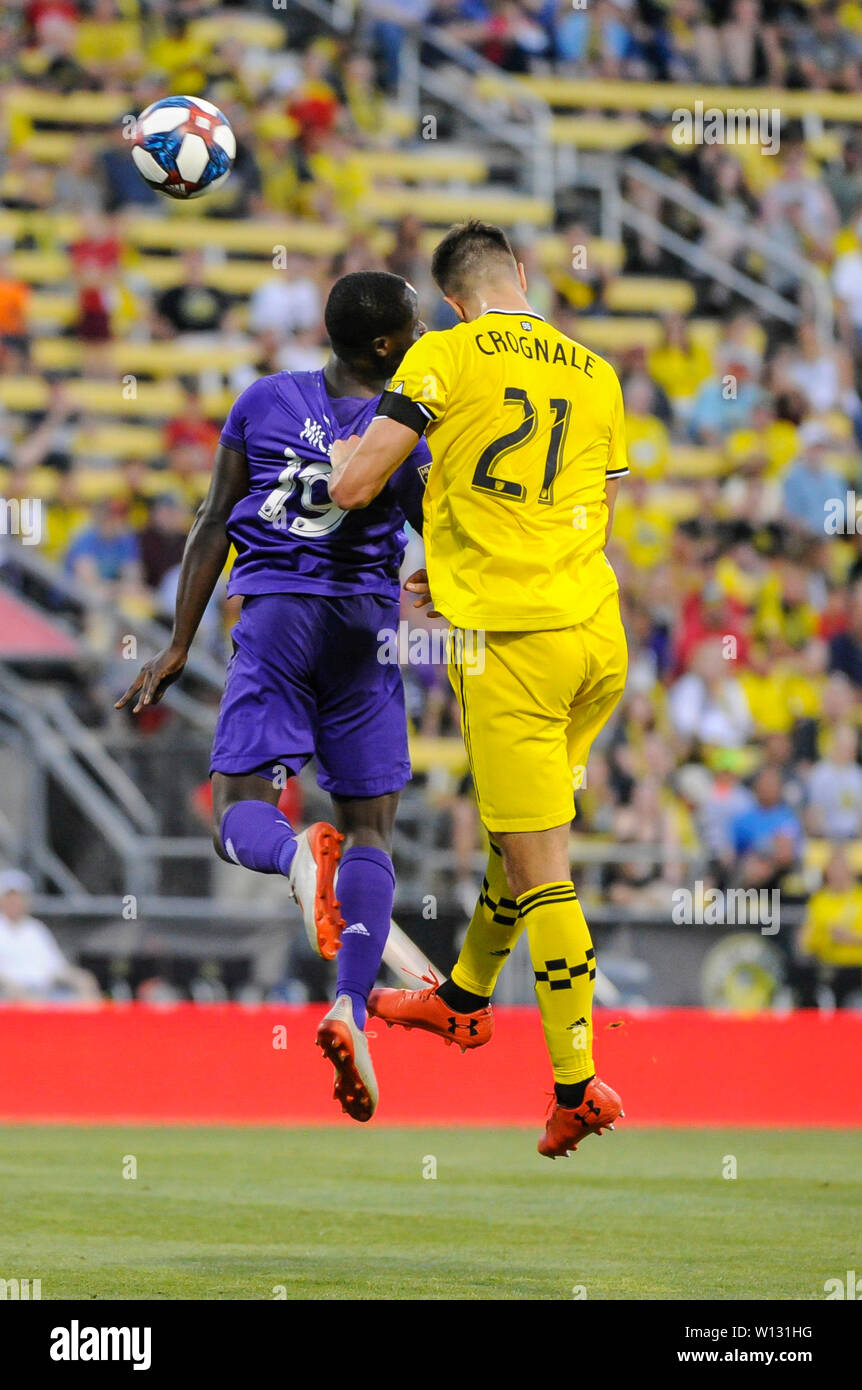 Saturday, June 29, 2019: Orlando City forward Benji Michel (19) and Columbus Crew SC defender Alex Crognale (21) in the first half of the match between Orlando City and Columbus Crew SC at MAPFRE Stadium, in Columbus OH. Mandatory Photo Credit: Dorn Byg/Cal Sport Media. Orlando City 2 - Columbus Crew SC 0 at the end of the match - Stock Image