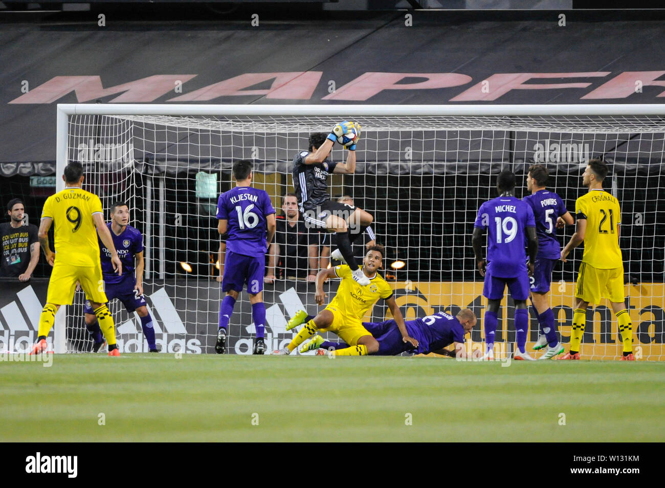 Saturday, June 29, 2019: Orlando City goalkeeper Brian Rowe (23) the first half of the match between Orlando City and Columbus Crew SC at MAPFRE Stadium, in Columbus OH. Mandatory Photo Credit: Dorn Byg/Cal Sport Media. Orlando City 2 - Columbus Crew SC 0 at the end of the match - Stock Image