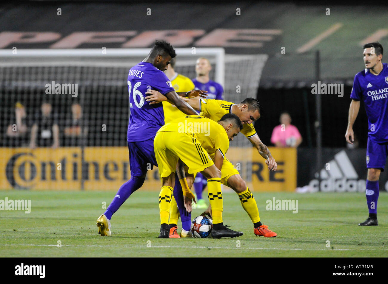 Saturday, June 29, 2019: Orlando City defender Carlos Ascues (26) books the ball attempting to use up time resulting in a yellow card in the first half of the match between Orlando City and Columbus Crew SC at MAPFRE Stadium, in Columbus OH. Mandatory Photo Credit: Dorn Byg/Cal Sport Media. Orlando City 2 - Columbus Crew SC 0 at the end of the match Stock Photo