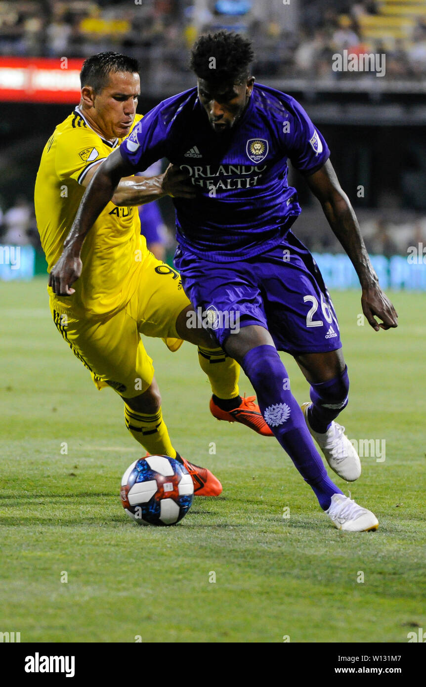 Saturday, June 29, 2019: Orlando City defender Carlos Ascues (26) and Columbus Crew SC midfielder David Guzman (9) in the first half of the match between Orlando City and Columbus Crew SC at MAPFRE Stadium, in Columbus OH. Mandatory Photo Credit: Dorn Byg/Cal Sport Media. Orlando City 2 - Columbus Crew SC 0 at the end of the match - Stock Image