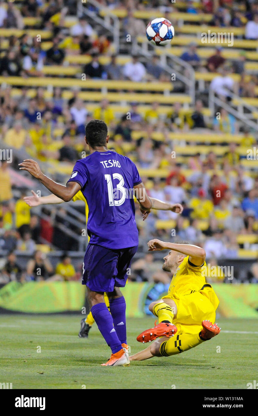Saturday, June 29, 2019: Orlando City forward Tesho Akindele (13) the first half of the match between Orlando City and Columbus Crew SC at MAPFRE Stadium, in Columbus OH. Mandatory Photo Credit: Dorn Byg/Cal Sport Media. Orlando City 2 - Columbus Crew SC 0 at the end of the match - Stock Image