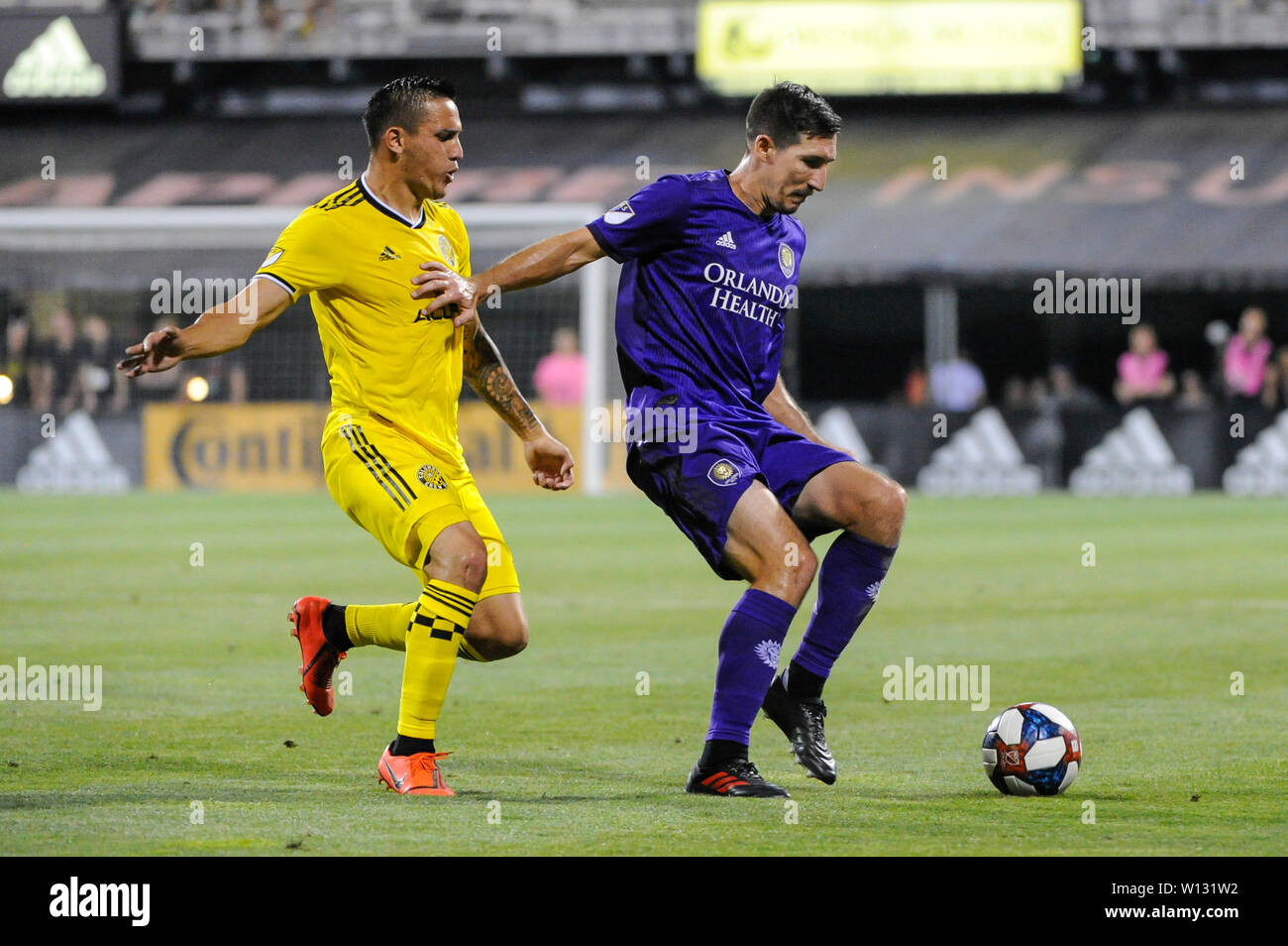 """Saturday, June 29, 2019: ''"""" the first half of the match between Orlando City and Columbus Crew SC at MAPFRE Stadium, in Columbus OH. Mandatory Photo Credit: Dorn Byg/Cal Sport Media. Orlando City 2 - Columbus Crew SC 0 at the end of the match - Stock Image"""