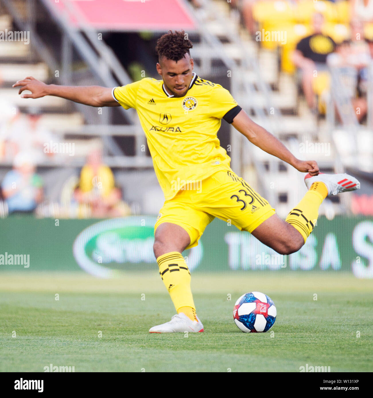 June 29, 2019: Columbus Crew SC forward JJ Williams (33) takes a shot on goal against Orlando City in their game in Columbus, Ohio, USA. Brent Clark/Alamy Live News - Stock Image