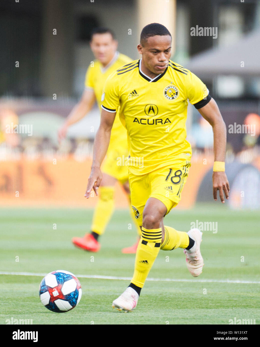 June 29, 2019:Columbus Crew SC forward Robinho (18) dribbles the ball down the pitch against Orlando City SC in their game in Columbus, Ohio, USA. Brent Clark/Alamy Live News - Stock Image