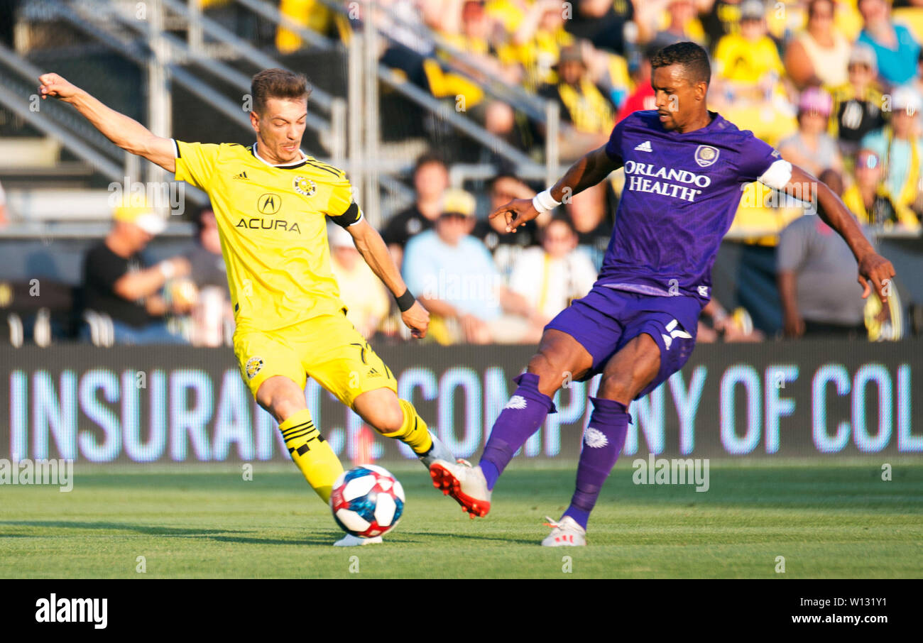 June 29, 2019: Columbus Crew SC midfielder Pedro Santos (7) fights for the ball against Orlando City Midfielder Nani (17) in their game in Columbus, Ohio, USA. Brent Clark/Alamy Live News Stock Photo