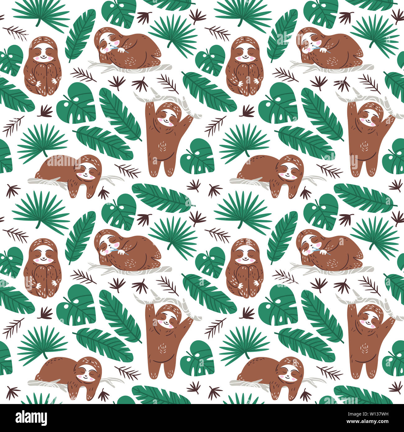 Lazy Cute Sloth Dreaming In Jungle Textile Seamless Vector Pattern Wallpaper Ornament For Nursery And Baby Gift Packing Cartoon Character Design Stock Photo Alamy