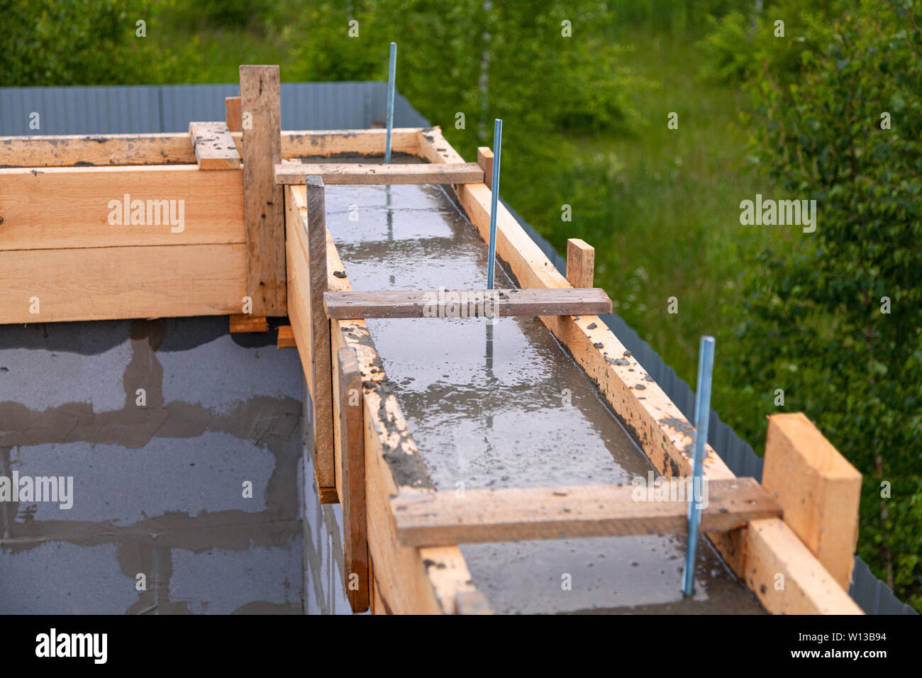 Foundation site of new house, building, details and reinforcements with steel bars Stock Photo