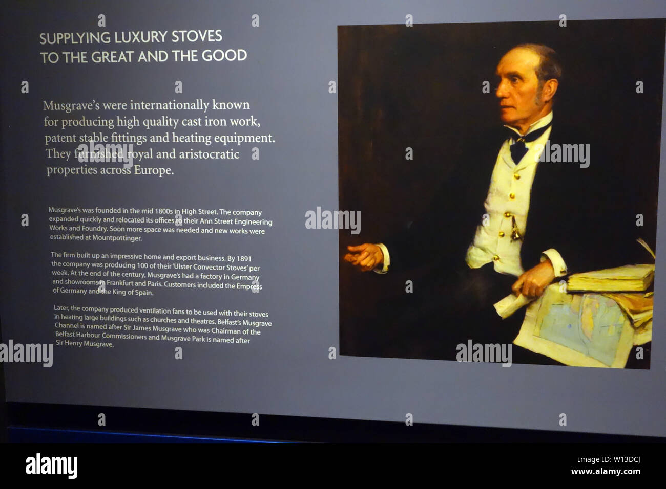 Photograph of Sir James Musgrave at the Titanic Experience Museum in the Titanic Quarter, Belfast, County Antrim, Northern Ireland, UK. - Stock Image
