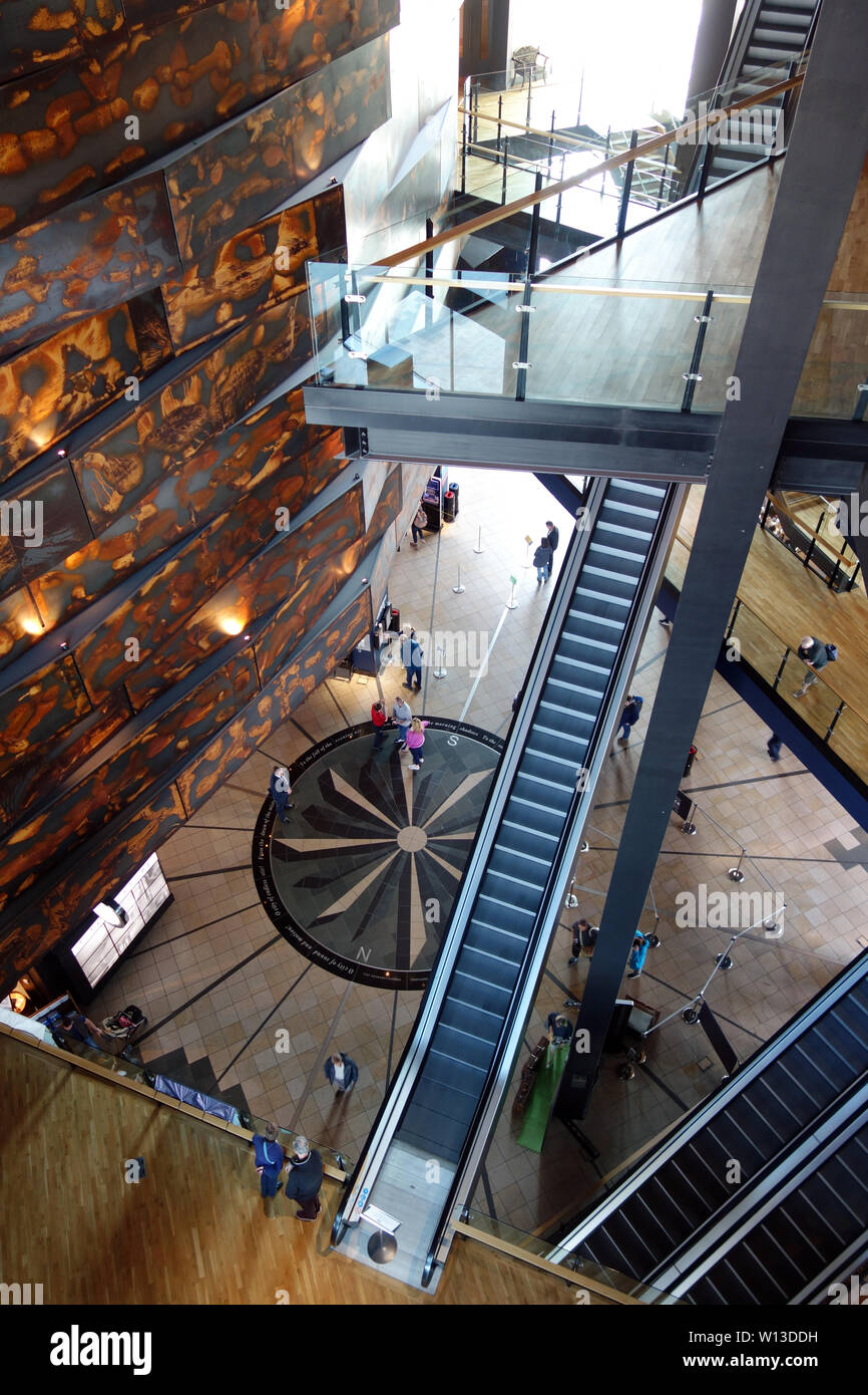 The Stairs & Foyer Inside the Titanic Experience Museum in the Titanic Quarter, Belfast, County Antrim, Northern Ireland, UK. - Stock Image