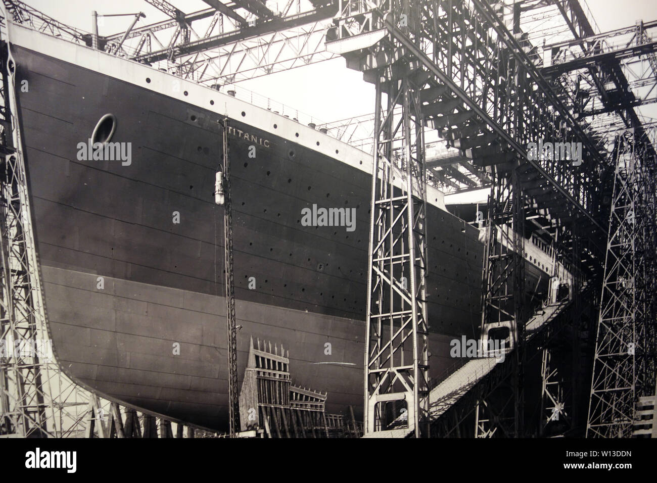Photograph of the Titanic Ship Being Built at the Titanic Experience Museum in the Titanic Quarter, Belfast, County Antrim, Northern Ireland, UK. - Stock Image