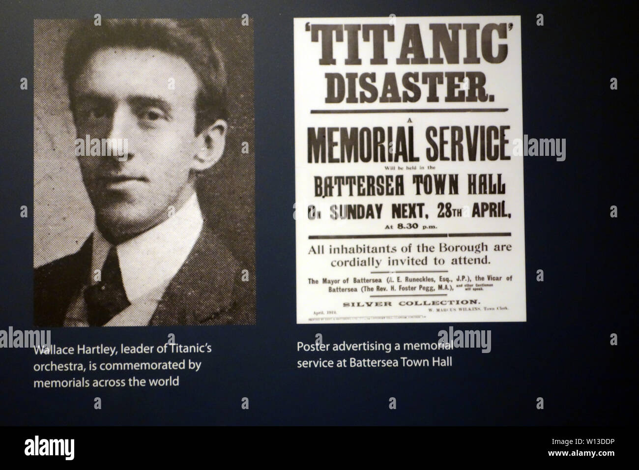 Photograph & Poster of Wallace Hartley at the Titanic Experience Museum in the Titanic Quarter, Belfast, County Antrim, Northern Ireland, UK. - Stock Image