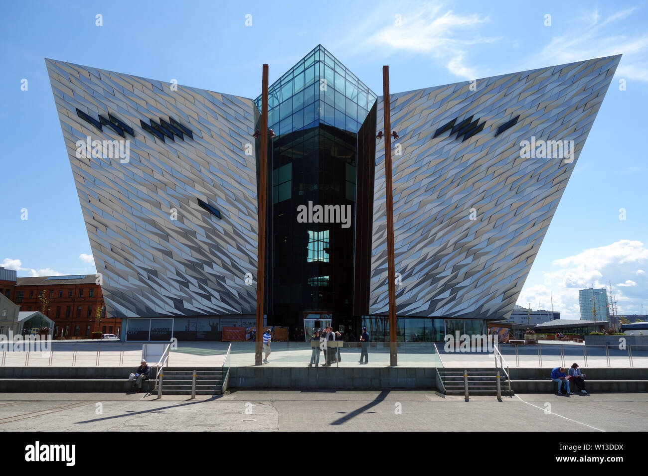 Outside the Titanic Experience Museum in the Titanic Quarter, Belfast, County Antrim, Northern Ireland, UK. - Stock Image
