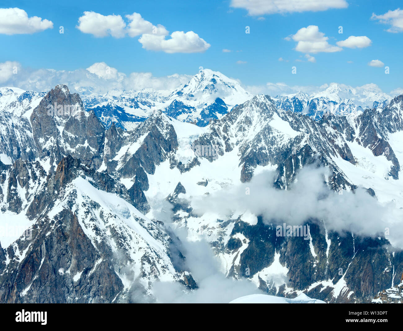 Mont Blanc mountain massif summer landscape. View from Aiguille du Midi Mount, French. - Stock Image