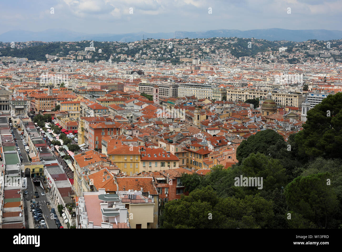 Nice old town - Vieille Ville - viewed from Colline du Château (Castle Hill) in Nice, France Stock Photo