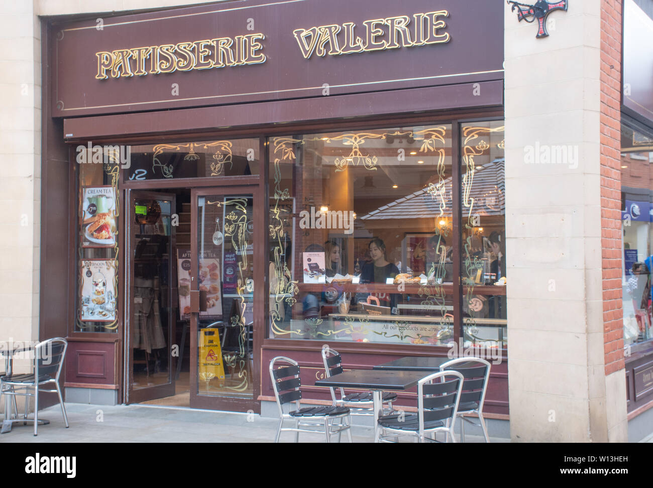 Durham   United Kingdom  - 31 May 2019:  Frontage of Patisserie Valarie Pastry Shop Stock Photo