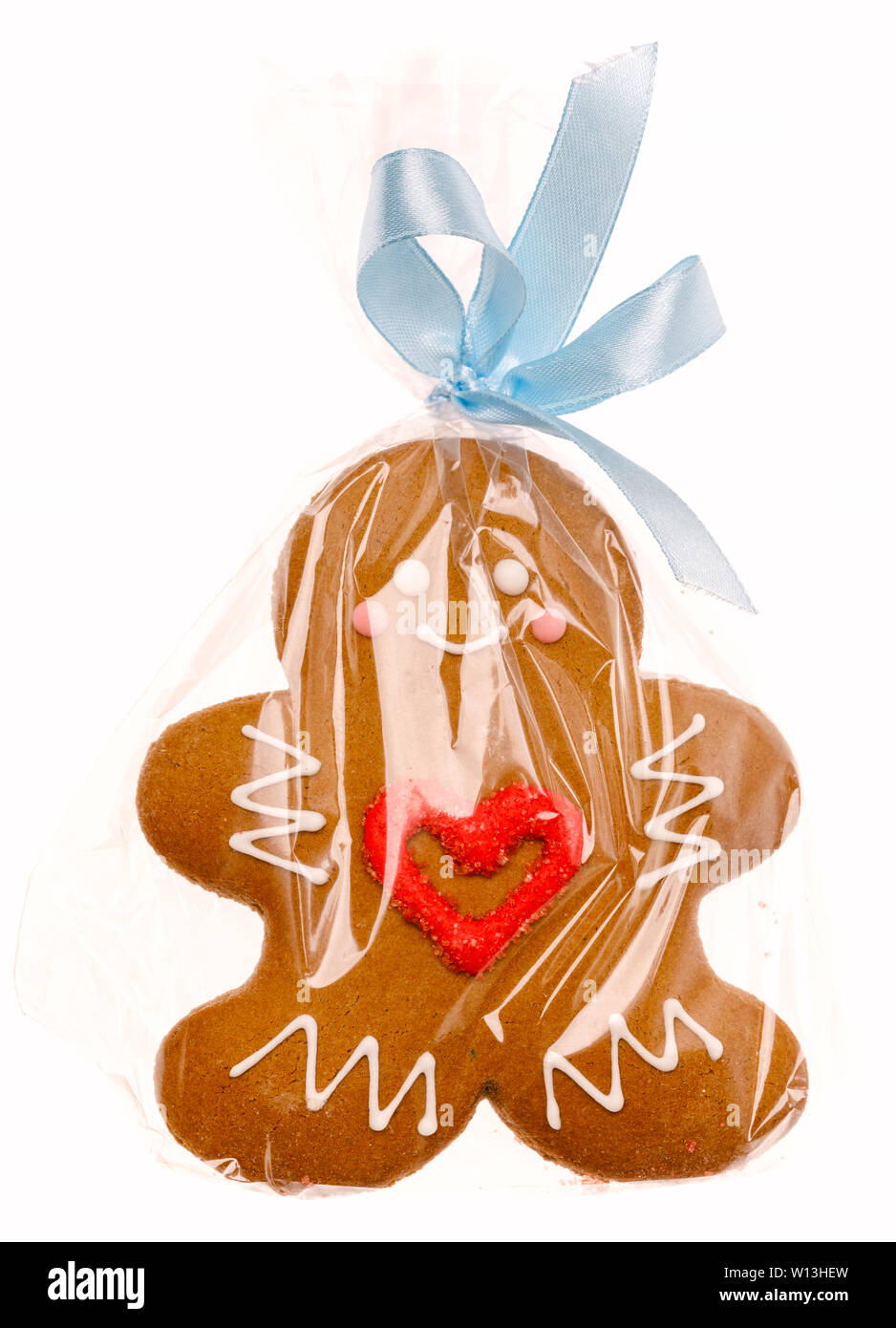 Iced Christmas Gingerbread Man Sugar Cookie Wrapped In Plastic