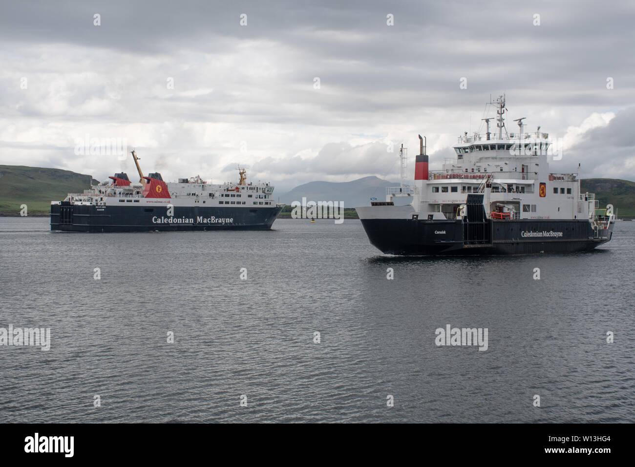 Oban  Scotland  United Kingdom  - 4 June 2019:  Two Caledonian MacBrayne Ferries Sailing From Oban Stock Photo