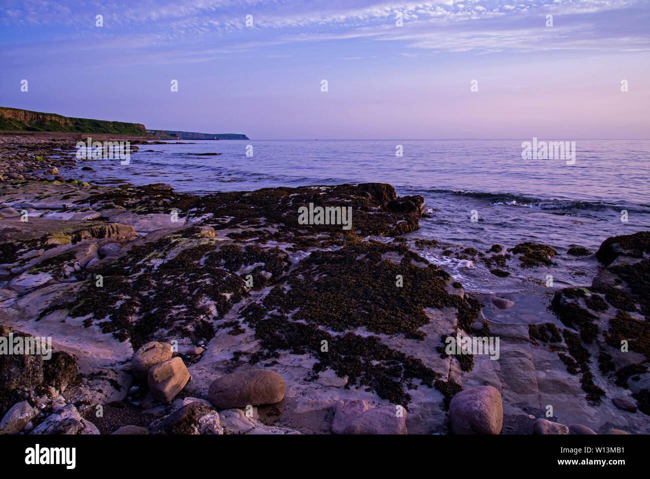 looking towards Whitehaven from parton beach west cumbria - Stock Image