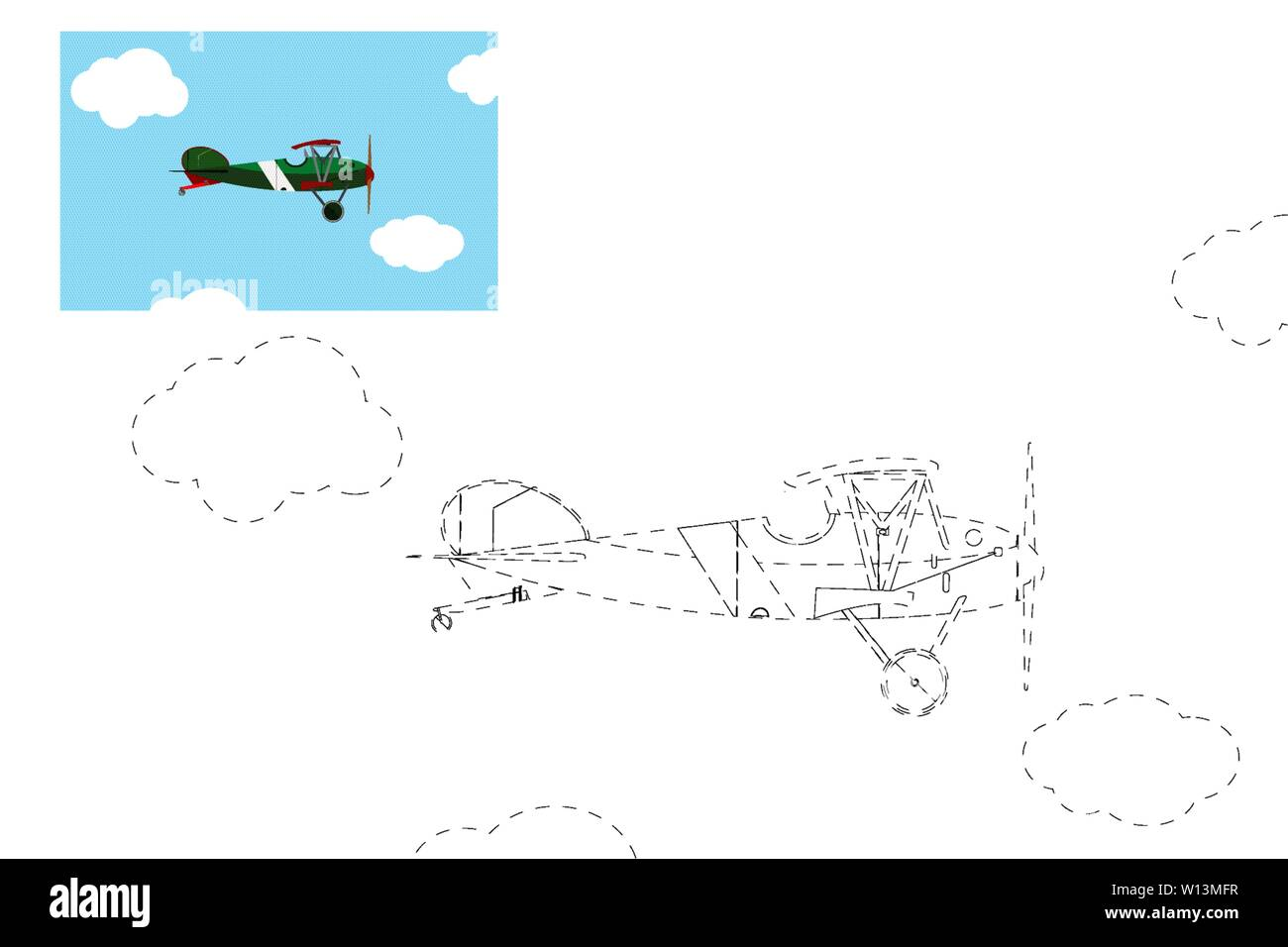Coloring. Simple educational game for children. Vector illustration of an airplane. - Stock Image