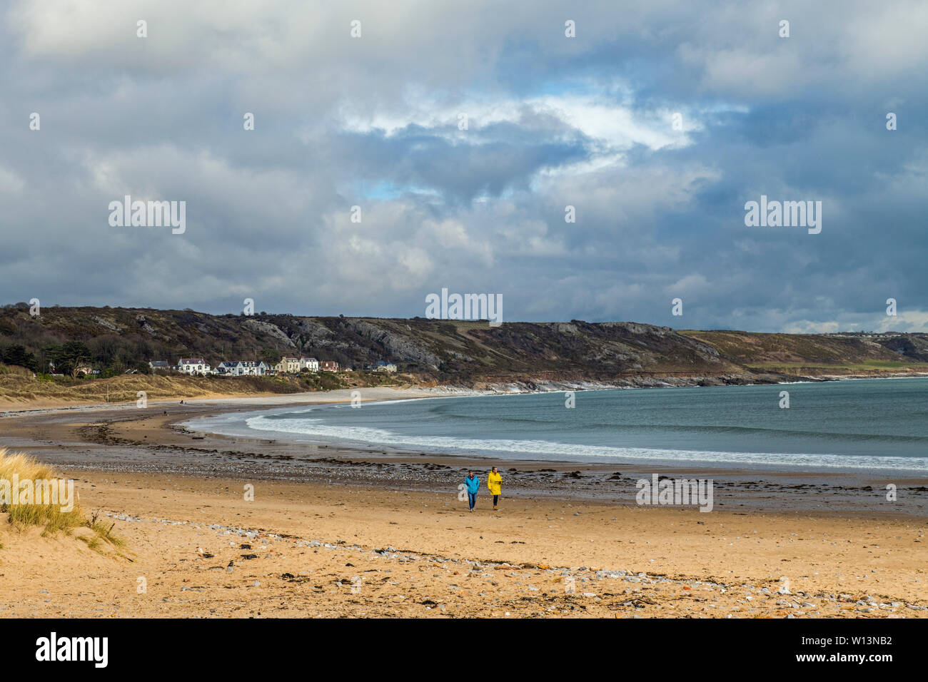 Port Eynon and Horton beaches on the Gower Peninsula AONB, South Wales on a March afternoon - Stock Image