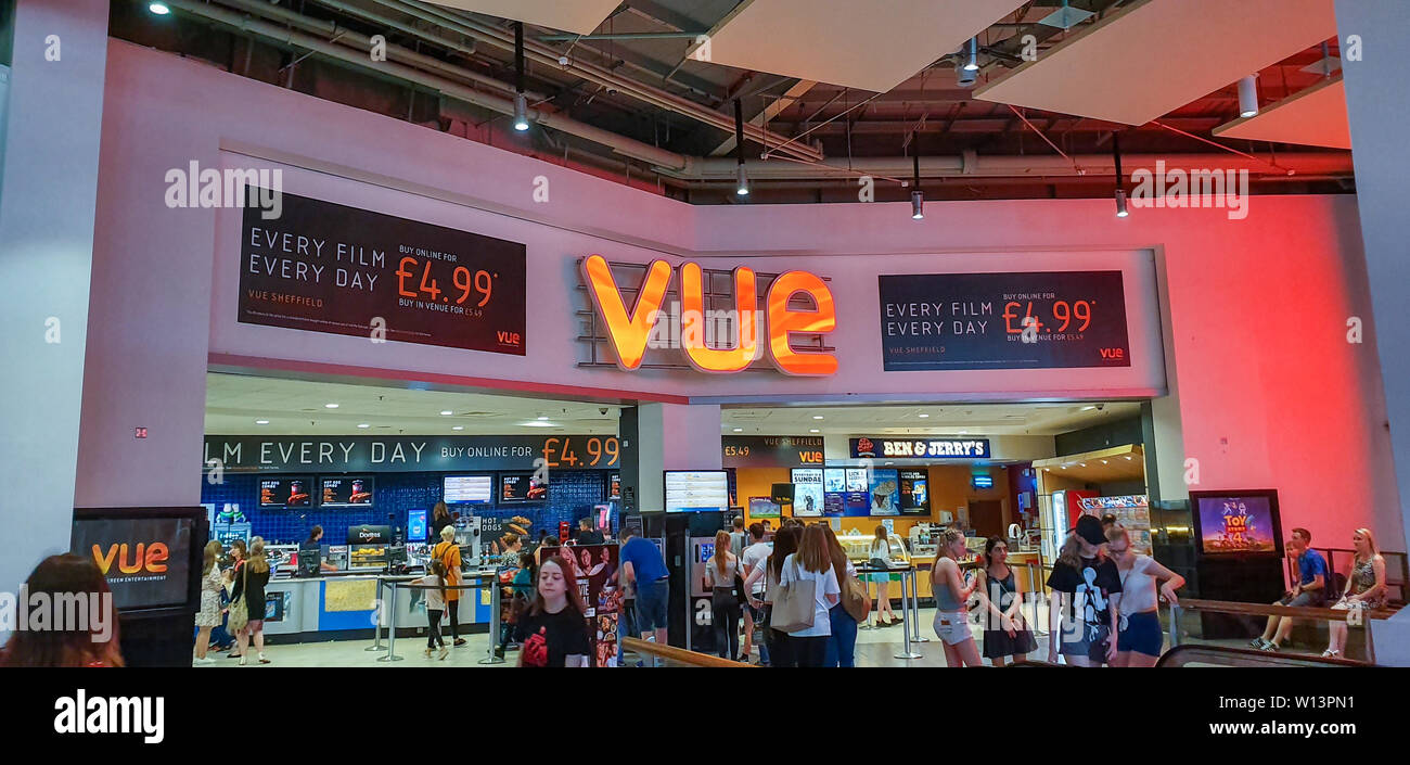SHEFFIELD, UK - 29TH JUNE 2019: Customers line up to buy tickets for Toy Story 4 from Vue in Meadowhall, Sheffield, UK - Stock Image