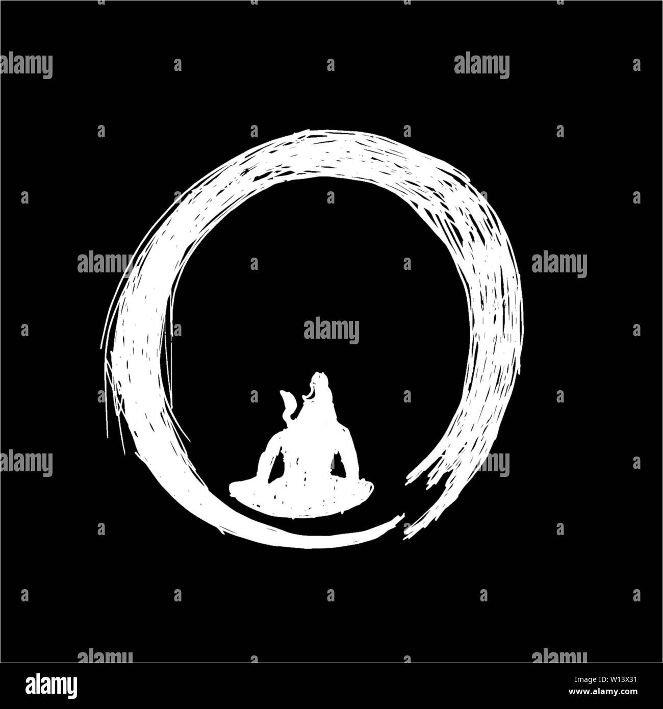 Black And White Illustration Of Shiva In A Circle Of Zen Tattoo Idea Stock Vector Image Art Alamy