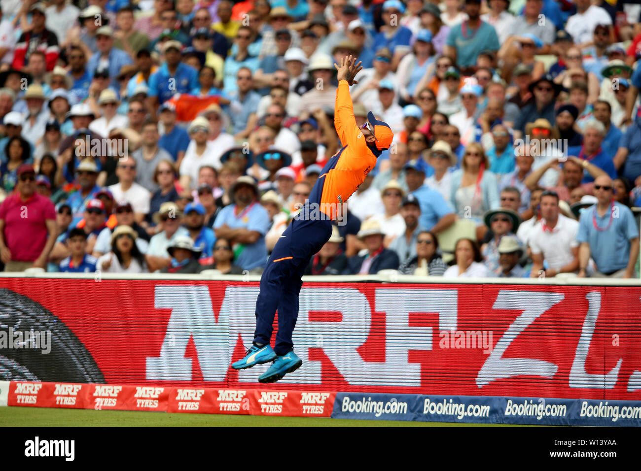 India's KL Rahul attempts a catch which causes him an injury during the ICC Cricket World Cup group stage match at Edgbaston, Birmingham. - Stock Image