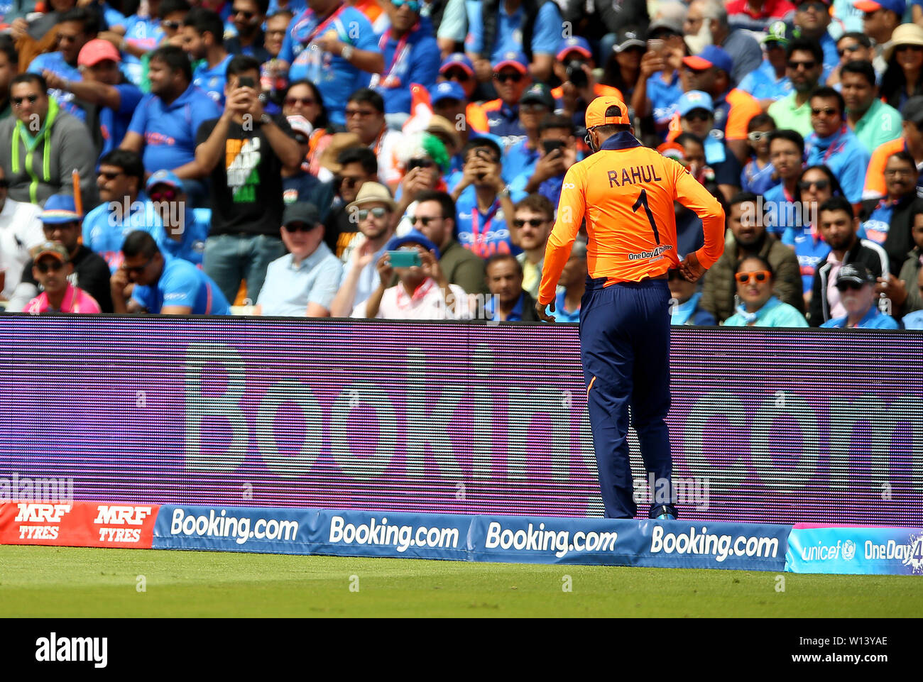 India's KL Rahul leaves the field with an injury during the ICC Cricket World Cup group stage match at Edgbaston, Birmingham. - Stock Image