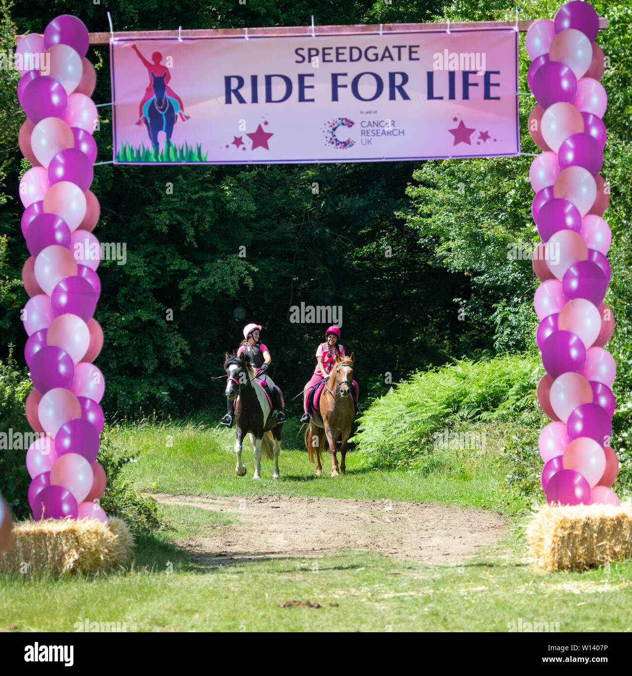 Fawkham Kent. Saturday 29th June 2019, Ride for life at speed gate livery. Riders wearing pink doing a charity ride raising money for cancer research. - Stock Image