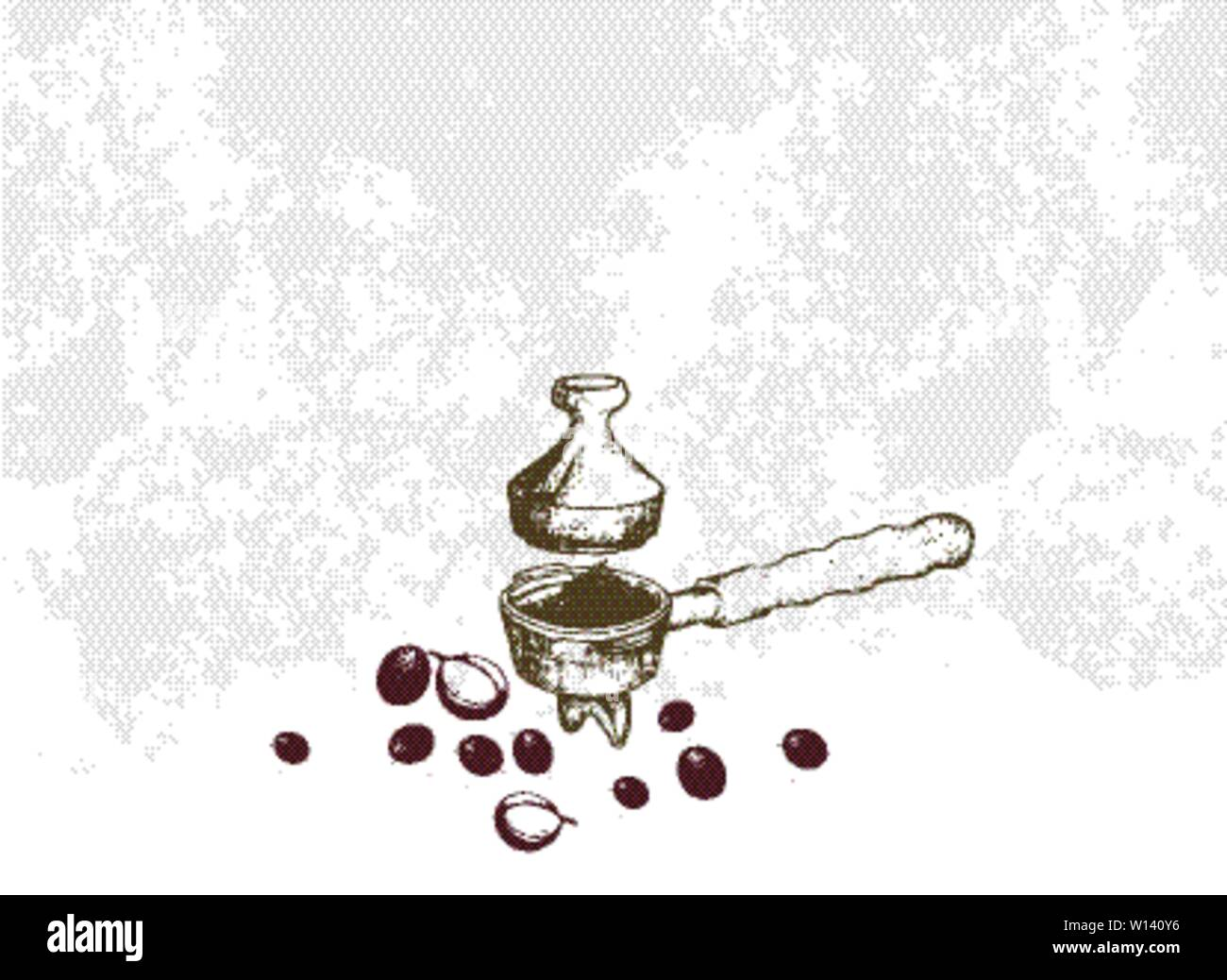 Coffee Time, Illustration Hand Drawn Sketch of Roasted Coffee Beans in Metal Portafilter or Filter Holder and Tamper of Espresso Machine with Assorted Stock Vector