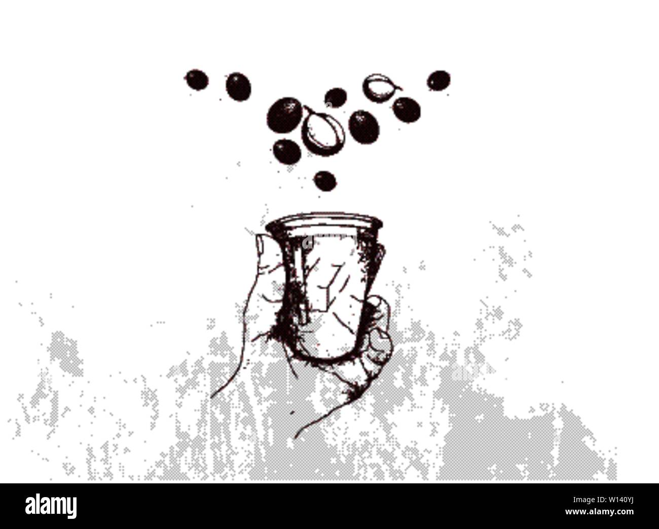 A Time for Coffee, Illustration Hand Drawn Sketch of Hand Holding Takeaway Coffee in A Disposable Cup with Assorted Roasted Coffee Beans. Stock Vector