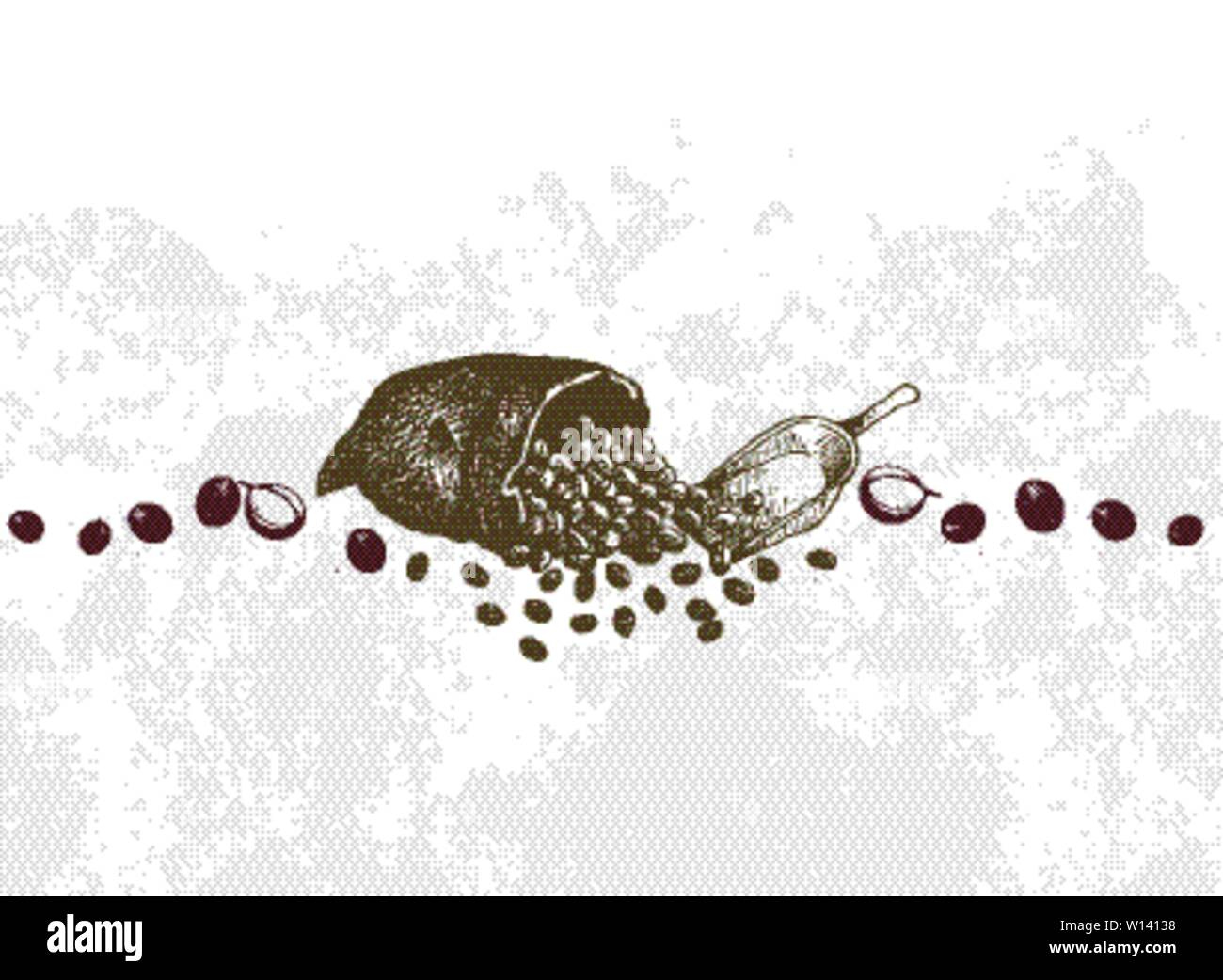 Coffee Time, Illustration Hand Drawn Sketch of Roasted Coffee Beans in A Canvas Bag. Stock Vector