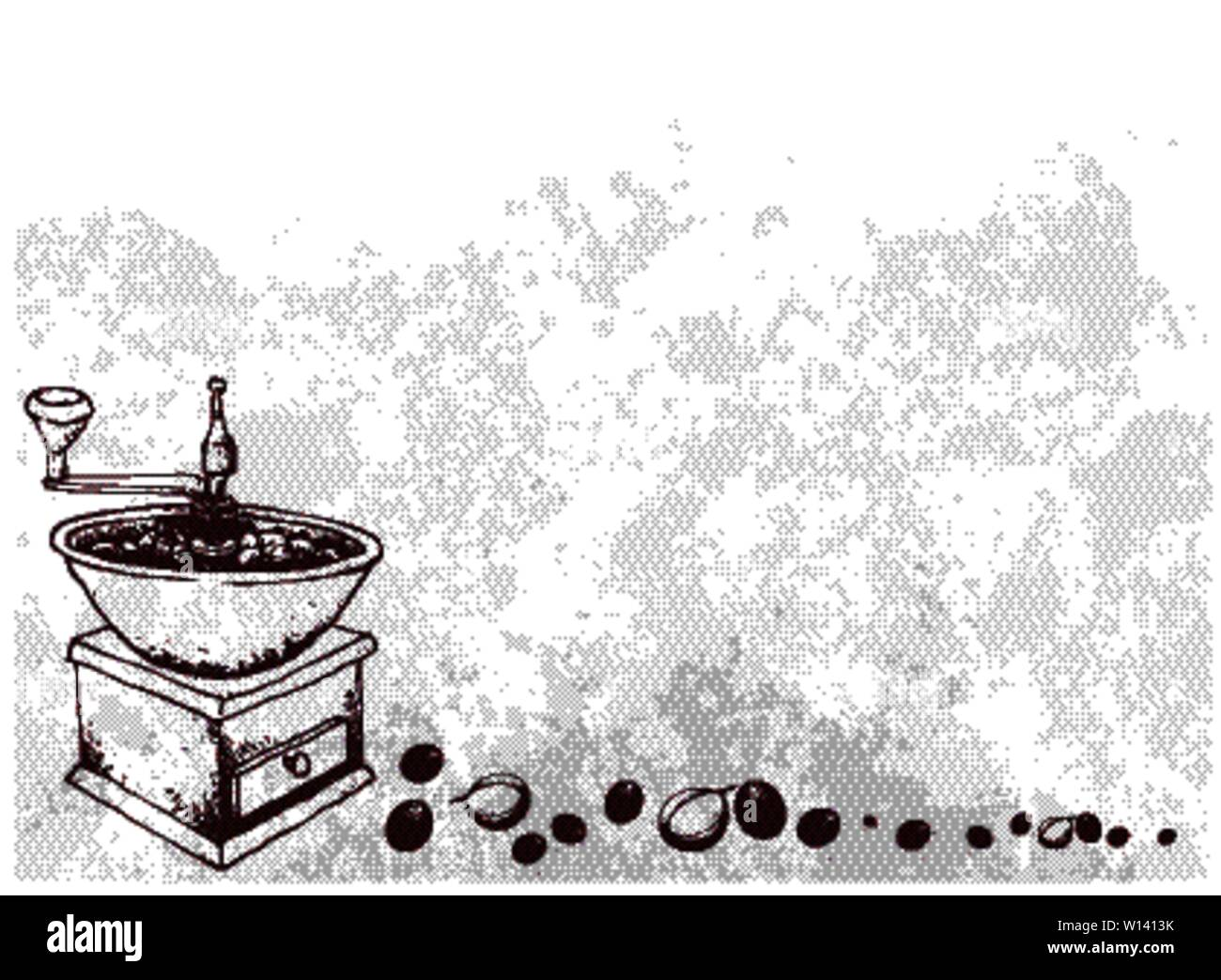 Illustration Hand Drawn Sketch of Roasted Coffee Beans with Traditional Manual Coffee Grinder. Stock Vector