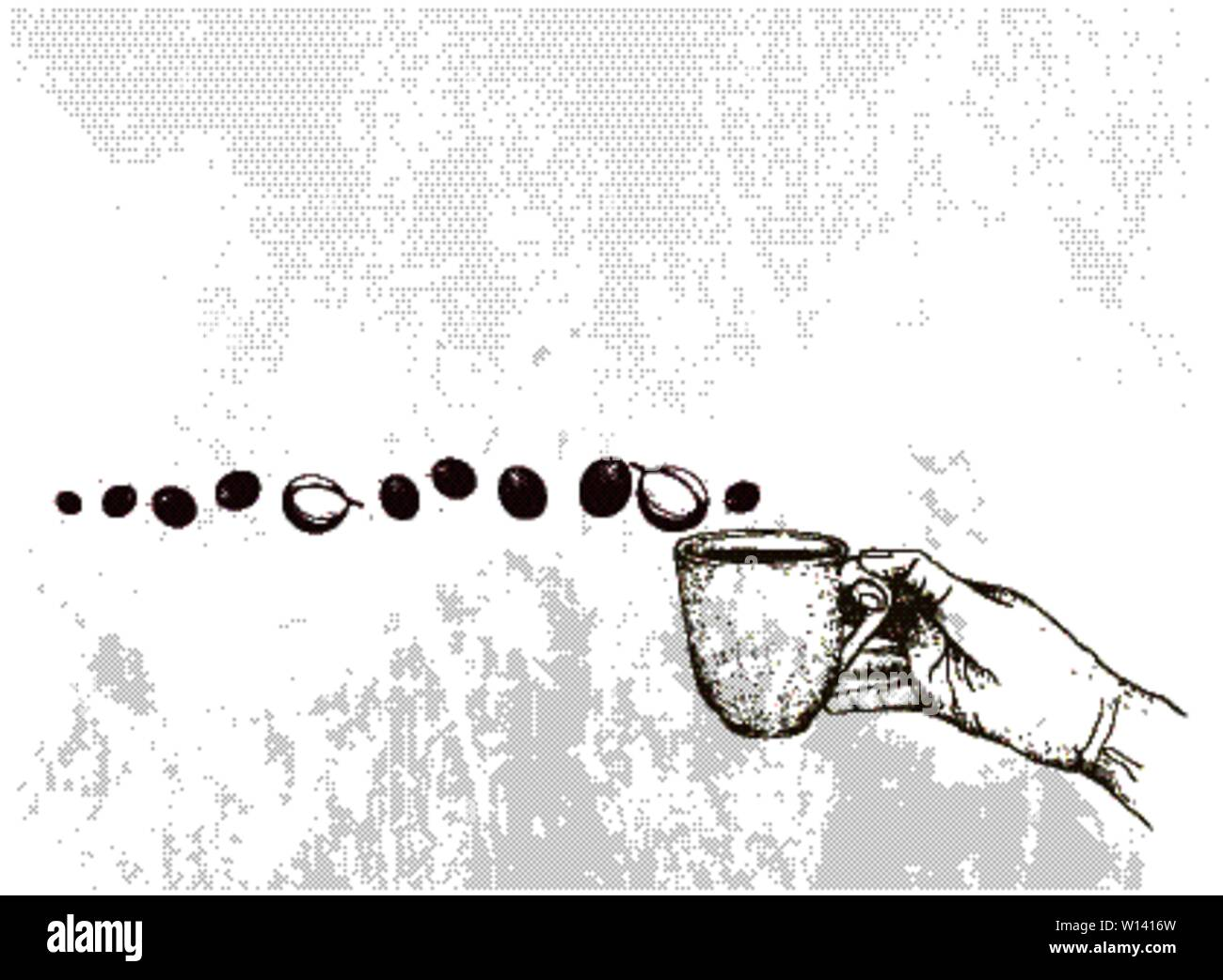 Coffee Time, Illustration Hand Drawn Sketch of Hand Holding A Cup of Coffee with Coffee Beans. Stock Vector