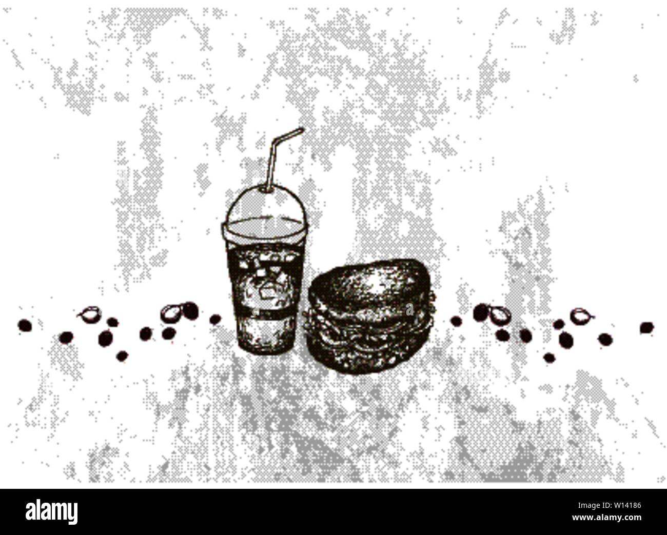 Energy Time, Illustration Hand Drawn Sketch of Delicious Homemade Freshly Healthy Whole Grain Bread Sandwich with Iced Coffee. Stock Vector