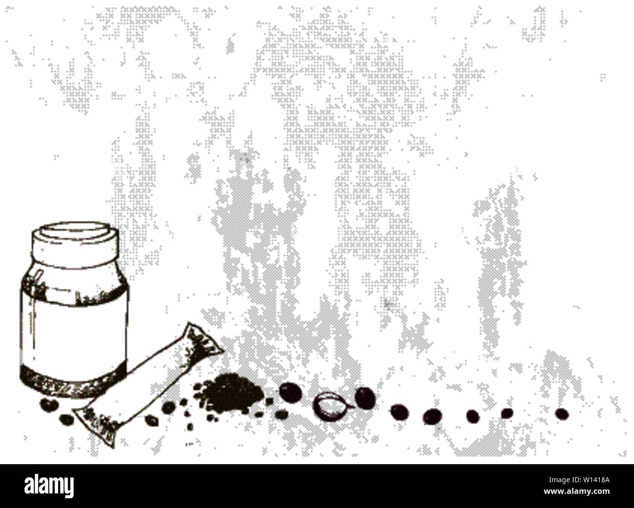 Illustration Hand Drawn Sketch of Instant Coffee or Coffee Powder with Coffee Beans. Stock Vector