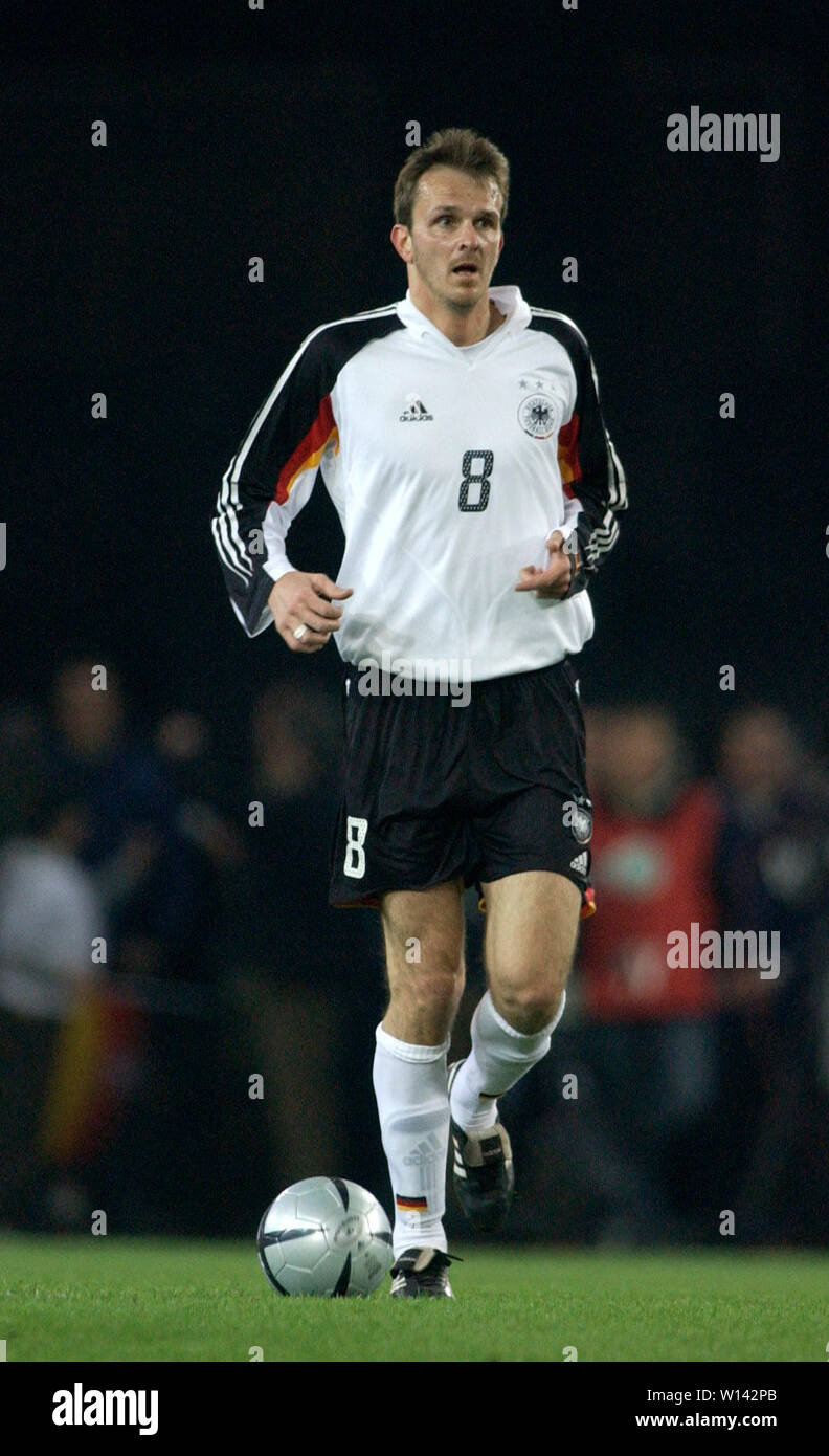 "Rhein-Energie-Stadion Cologne Germany, 31.3.2004, Football: International friendly, Germany (white) vs. Belgium (red) 3:0 --- Dietmar ""Didi"" Hamann  (GER) Stock Photo"