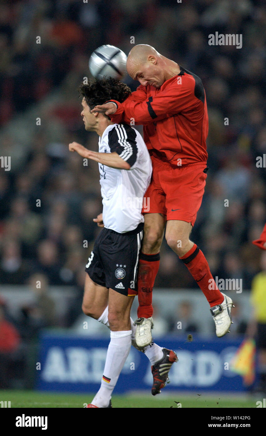 Rhein-Energie-Stadion Cologne Germany, 31.3.2004, Football: International friendly, Germany (white) vs. Belgium (red) 3:0 --- Michael BALLACK (GER),  Didier Dheedene   (BEL) Stock Photo
