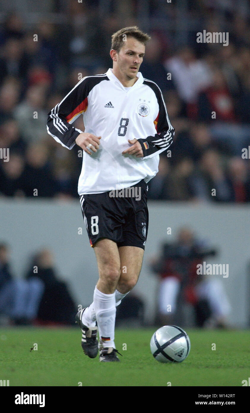 "Rhein-Energie-Stadion Cologne Germany, 31.3.2004, Football: International friendly, Germany (white) vs. Belgium (red) 3:0 --- Dietmar ""Didi"" Hamann  (GER) Stock Photo"