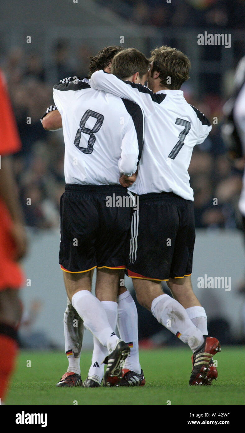 Rhein-Energie-Stadion Cologne Germany, 31.3.2004, Football: International friendly, Germany (white) vs. Belgium (red) 3:0 --- German celebration - Stock Image
