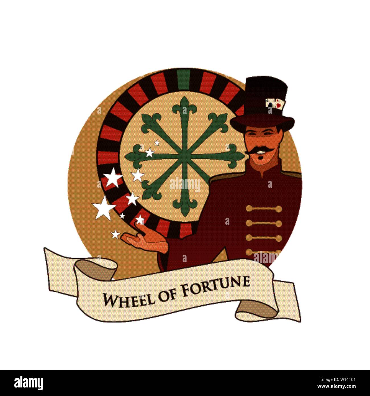 Major Arcana Emblem Tarot Card. The Wheel of Fortune. Master of ceremonies with mustache, wearing top hat adorned with playing cards, showing a casino - Stock Image