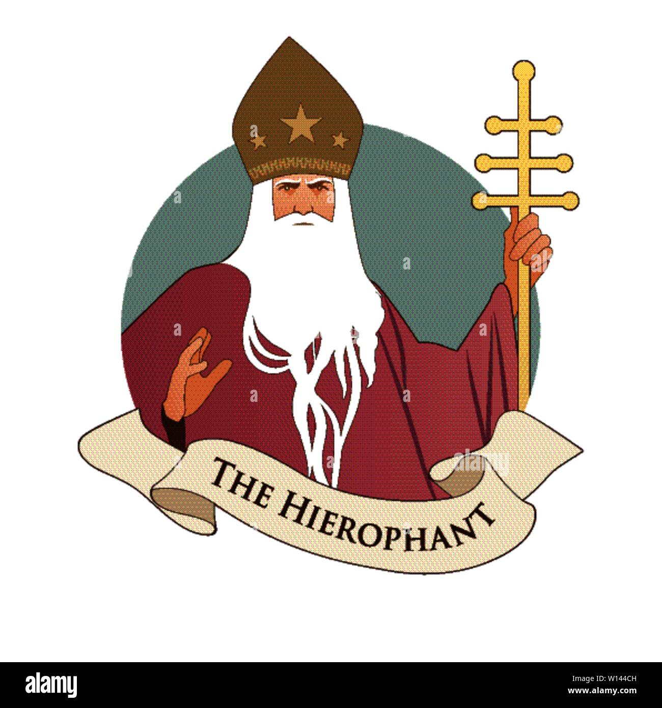 Major Arcana Emblem Tarot Card. The Hierophant. Pope with white beard and miter with stars, holding a golden crosier, blessing with his right hand, is - Stock Image