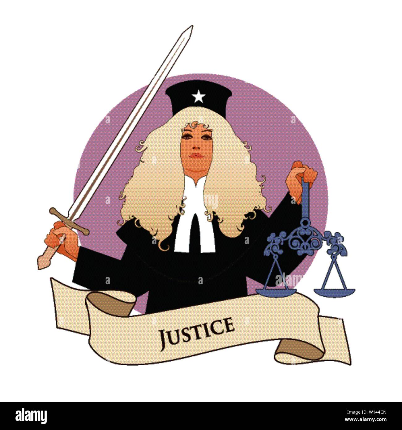 Major Arcana Emblem Tarot Card. Justice. Woman dressed in a wig and judge's clothes, holding a sword in one hand and a scale in another, isolated on w - Stock Image