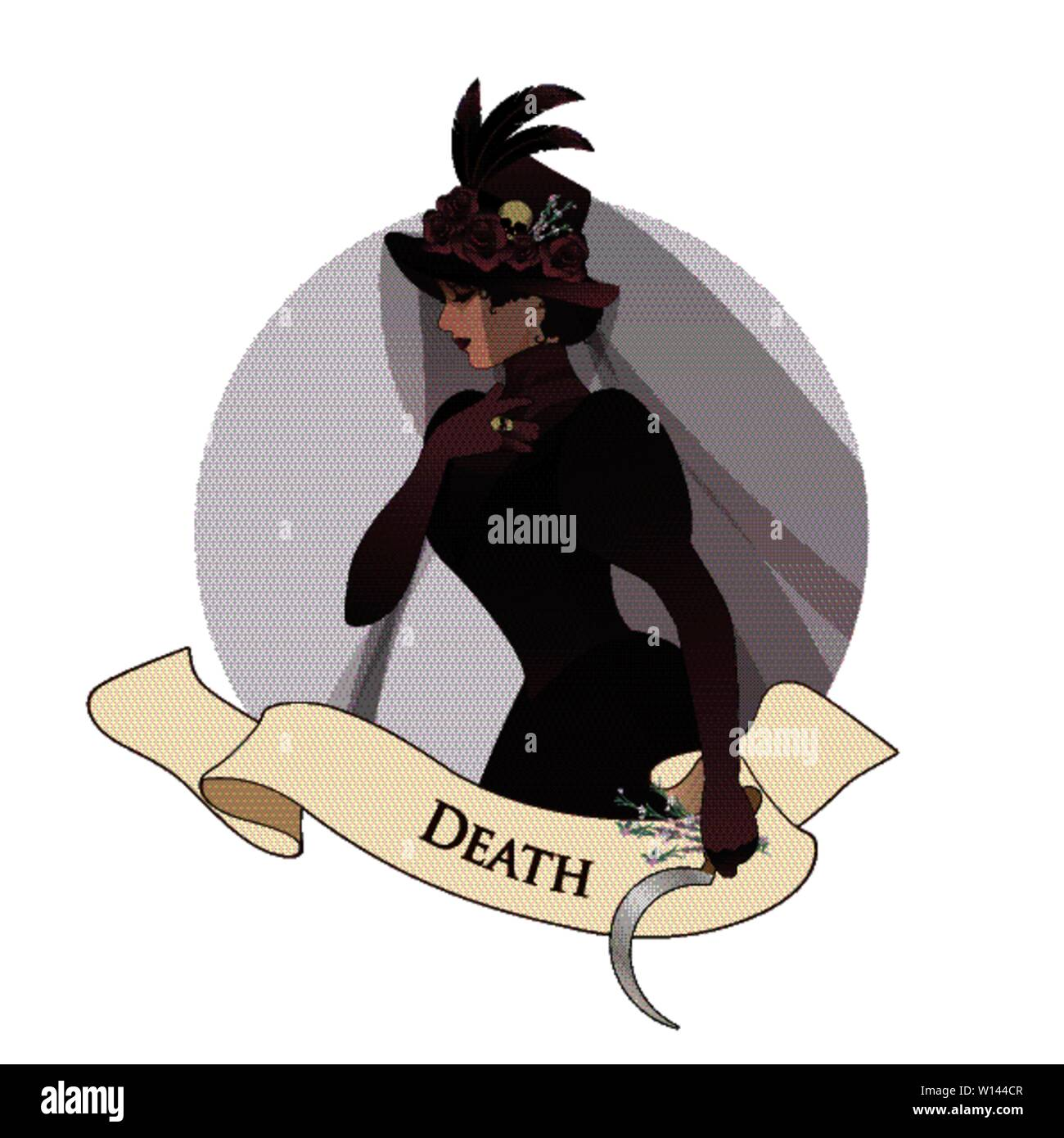 Major Arcana Emblem Tarot Card. Death. Woman dressed in veils and ancient widow clothes carrying a sickle and a sprig of flowers in one hand. Hat deco - Stock Image