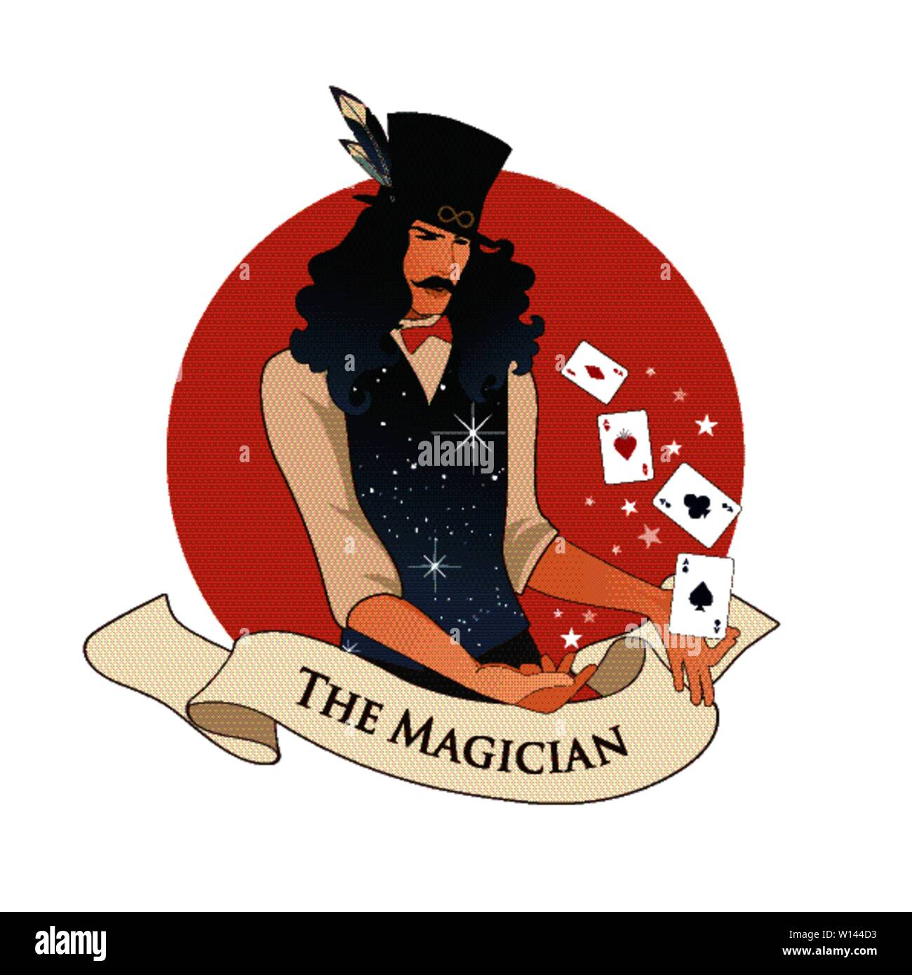 Major Arcana Emblem Tarot Card. The Magician with mustache and top hat, holding a magic wand doing magic with playing cards, isolated on white backgro - Stock Image