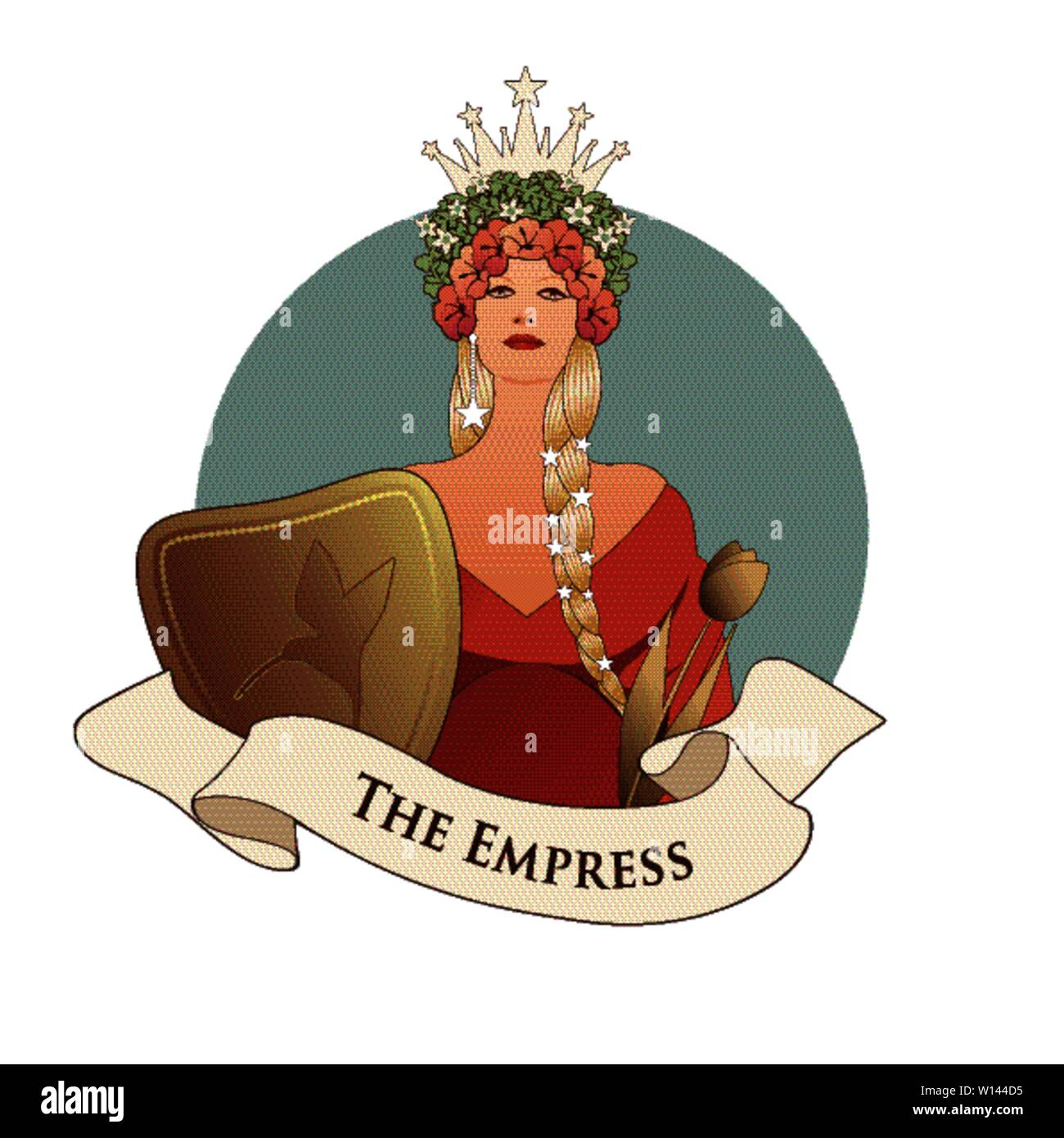 Major Arcana Emblem Tarot Card. The Empress. Beautiful woman with long braids, crown of flowers and stars, holding a shield with a hummingbird and gol - Stock Image