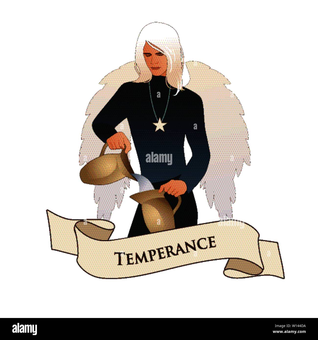 Major Arcana Emblem Tarot Card. Temperance. Angel with appearance and clothes of young man, great wings, hair fair, pouring water from one jug to anot - Stock Image